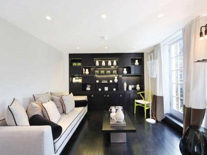 1 вариант интерьера: Темный пол, светлые стены и потолок