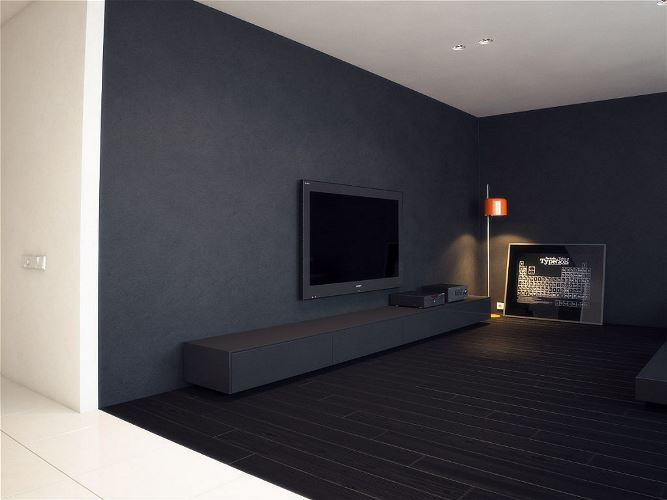 3 вариант интерьера: Пол и стены – темные, потолок светлый